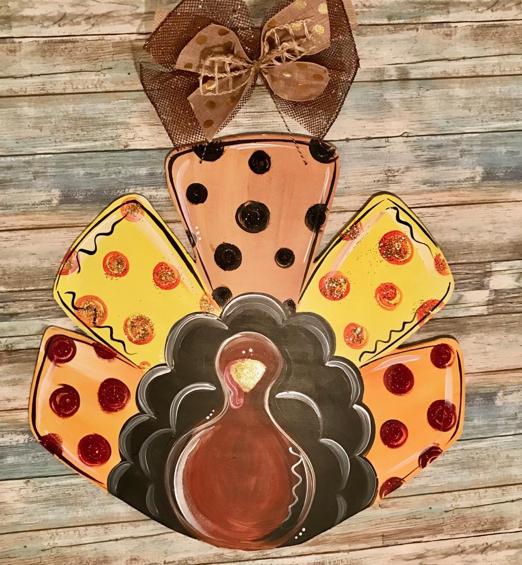 Turkey Door Hanger Unfinished: Thanksgiving Turkey Wooden Door Hanger